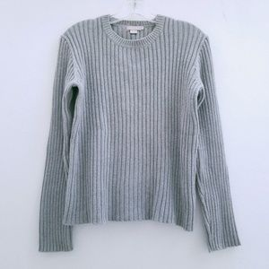 J Crew Gray Ribbed Crew Neck Cotton Sweater